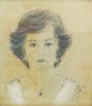 ASS ILEG - Figura de mulher, desenho pastel, assinado, datado e localizado no CID, medindo 35x31 cm, c/ moldura 43x39 cm