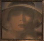 """KUNO SCHIEFER. """"Figura feminina"""",acrilico s/tela colada s/eucatex, 94 x 99 cm. Emoldurado, 100 x 106 cm."""