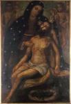 """ESCOLA EUROPÉIA. """" Pietá"""", óleo sobre tela, medindo 113 X 76 cm. Início século XIX . Rara peça."""