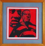 """RUBENS GERCHMAN, """"Domingos da Guia - Série Estética do Futebol"""", serigrafia, tiragem 17/150, 42 x 42  cm. Assinado. Emoldurado com vidro,  61 x 61 cm"""