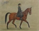 J. WENTSHAR - Dama à cavalo, aquarela, assinado e datado de 1926, medindo 39x49 cm, emoldurado c/ vidro 61x78 cm