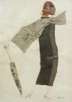 FRIART - Dama c/ guarda chuva, técnica mista, assinado e datado 1957, medindo 70x50 cm, emoldurado c/ vidro 84x61 cm