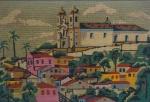 Tapeçaria c/ igreja, medindo 62x92 cm, ( no estado)