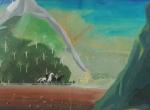 ASS ILEG -  Paisagem, aquarela,medindo 45x60 cm, emoldurado c/ vidro 69x83 cm
