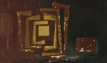 MARCO ANTONIO- Composição, óleo s/ tela, década de 60, medindo 100x60 cm ( no estado necessita restauro)