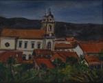 """Autor não identificado - """"Paisagem com igreja"""", óleo sobre tela, assinado c.i.d. Medidas 32 x 40 cm, moldura 44 x 52 cm."""