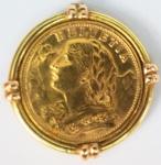 Moeda de ouro 20 Francos Suíços, datada de 1949, encastroada, peso total 9,9 gr