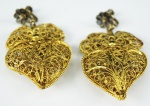Par de brincos portugueses em prata filigranada, c/ banho de ouro, med 5,5 cm, peso total 45,7 gr