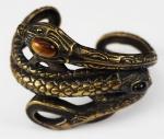 Bracelete Valentino, formato de serpente, em metal dourado envelhecido