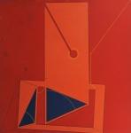"""ABELARDO ZALUAR. """"Geométrico"""", técnica mista sobre eucatex, med 50x50 cm. Assinado no CID e datado 1975. No estado, com algumas manchas."""