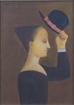 """REYNALDO FONSECA . """" Menina com chapéu"""" ,óleo s/tela,  33 x 24 cm. Emoldurado, 59 x 49 cm. Assinado e datado de 1986."""