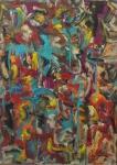 """JORGE GUINLE. """"Abstração"""", óleo s/tela, 98 x 70 cm. Assinado , intitulado e datado, frente e verso ,  81. Acompanha certificado. Emoldurado, 105 x 78 cm."""