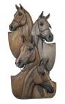 ROGÉRIO PUGSLEY - Tropa, escultura tridimensional em resina e pó de mármore policromado representando 4 cavalos, med. 156 x 77 cm, 1993.