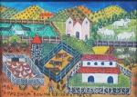 """Rosina Becker do Valle - """"A fazenda"""", óleo sobre tela, assinado e datado no c.i.e e verso, cachê da Bolsa de Arte do Rio de Janeiro. Medidas, tela 16 x 22 cm, moldura 33 x 39 cm."""