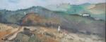 """Bustamante Sá - """"Paisagem"""", óleo sobre eucatex, assinado c.i.e. Medidas, pintura 15 x 35 cm, moldura 36 x 58 cm."""