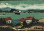 """Silvio Pinto - """"\\paisagem com barcos"""", óleo sobre eucatex, assinado c.i.d. Medidas, pintura 15 x 21 cm, moldura 36 x 42 cm."""