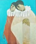 """Quaglia - """"Apaixonados"""", óleo sobre tela, assinado frente e verso, datado 1985. Medidas, tela 50 x 61 cm, moldura 86 x 74 cm."""