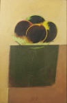 """Scliar - """"Frutas no prato"""", vinil e colagem encerado sobre eucatex, assinado frente e verso, datado e localizado, Cabo Frio RJ 1986. Medidas, pintura 56 x 37 cm, moldura 88 x 68 cm."""
