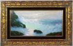 """Benedito Luigi - """"Marinha"""", óleo sobre eucatex, assinado c.i.d e verso. Medidas, pintura 29 x 59 cm, moldura 51 x 81 cm."""