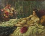 """Ilio Giannaccini (1897-1968) - (Escola italiana) - """"Nu"""", óleo sobre madeira, assinado c.i.d. Medidas, pintura 38 x 48 cm, moldura 59 x 69 cm."""