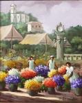 """Alfredo Lowenstein - """"Mercado de flores"""", óleo sobre tela, assinado frente e verso e datado de 1991. Medidas, tela 22 x 27 cm, moldura 52 x 47 cm."""