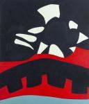 """VERA TORRES.""""A Ponte"""", óleo s/tela, 140 x 120 cm. Assinado no verso e datado 2007. (04247)"""