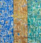 """COSME MARTINS."""" Abstrato Tríptico Tricolor I"""", óleo s/tela, 140 x 144 cm. Assinado centro inferior. (03539)"""