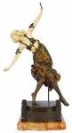 "COLINET, CLAIRE-JEANNE-ROBERTE "" DANCER OF THE DAGGERS SCULPTURE"", CIRCA 1920.Escultura em bronze e marfim (falta adagas). Alt. 52 cm."