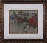 """JOSE PANCETTI (Campinas, SP,1902  Rio de Janeiro, RJ, 1958). """" Marinha"""" ,óleo s/ tela, 38 x 46 cm. Assinado no CID e verso datado de 1937. Emoldurado, 68 x 77 cm."""