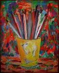 """AUGUSTO HERKENHOFF (Cachoeiro de Itapimirim, ES, 1965). """" Vaso com pincéis"""", óleo s/ tela,  243 x 190 cm. Assinado e datado 2002."""