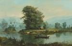 """BENEDITO CALIXTO. """"Paisagem com rio"""", óleo s/tela, 33 x 55 cm. Assinado no CID. Emoldurado, 63 x 83 cm."""
