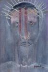"""ALBERTO DA VEIGA GUIGNARD. """"Cabeça de Cristo"""", óleo s/madeira, 39 x 27 cm.  Assinado e datado no CID, 1955. Ex-coleção de Alberto Hass."""