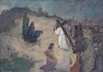 """ALDO MALAGOLI (1906-1994). """"Via Crucis"""", óleo s/madeira, 26 x 55 cm. Assinado no CIE."""