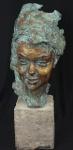 """BERTHOUD (Paul-François) - Escultura em bronze representando """"rosto feminino"""", base de mármore.Medidas escultura altura 40 cm, base altura 21 cm, altura total 61 cm."""