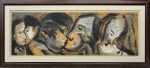 """RUBENS GERCHMAN (1942 - 2008). """" Série do beijo"""",óleo s/tela, med. 70 x 2120 cm. Assinado cid e no verso datado 96/97."""