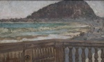 """HENRIQUE BERNARDELLI - """" Paisagem iconográfica - Leme, Rio de Janeiro"""", pintado de seu atelier, óleo s/ madeira, medindo 25x40 cm, c/ moldura 49x63 cm, assinado e localizado no CIE."""