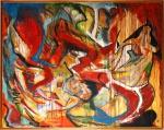 """JORGE GUINLE  (Nova Iorque, EUA,1947  1987). """"Alegria"""", óleo s/tela, 180 x 220 cm. Assinado e datado  frente e verso, 1978. Acompanha certificado de autenticidade, assinado por Marco Aurélio Cardoso Rodrigues. Emoldurado."""