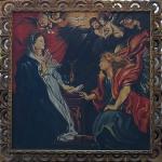 """ASSINATURA NÃO IDENTIFICADA. """" A Anunciação"""", óleo s/tela, 120 x 119 cm. Assinado no CIE. Emoldurado, 138 x 139 cm."""