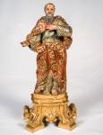 São Joaquim  esculpido em madeira policromada, c/ resplendor, med. 36 cm (possui movimento giratório na base)