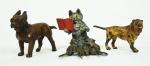 Três mini animais em ferro pintado