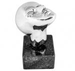 """OXANA NAROZNIAK. """"Cabeça"""". Escultura cromada com olhos de cristal. Base de granito. Assinada. Medidas  escultura 26 cm   base 10 cm"""