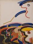 """RUBENS GERCHMAN ( Rio de Janeiro, RJ, 1942  São Paulo, SP, 2008). """"Multidão"""", óleo s/cartão colado em eucatex, 76 x 57 cm. Assinado no CID e CIE. e no verso, datado 83. Emoldurado, 79 x 60 cm.  Foi um artista plástico brasileiro, descendente de suecos, ligado a tendências vanguardistas como o pscicodelismo e influenciado pelo pop-art, arte concreta e neoconcreta. O artista usou ícones de futebol, televisão e política em suas obras. Em 1967 foi premiado no Salão Nacional de Arte Moderna com uma viagem aos Estados Unidos, permanecendo em Nova York, entre 1968 e 1972, realizando várias exposições."""