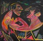 """RUBENS GERCHMAN ( Rio de Janeiro, RJ, 1942  São Paulo, SP, 2008). """"O delicado encontro x discussão de amigos Chez K."""", óleo s/tela,70 x 76 cm. Assinado no CID e no verso, datado 86. Emoldurado, 84 x 90 cm.  Foi um artista plástico brasileiro, descendente de suecos, ligado a tendências vanguardistas como o pscicodelismo e influenciado pelo pop-art, arte concreta e neoconcreta. O artista usou ícones de futebol, televisão e política em suas obras. Em 1967 foi premiado no Salão Nacional de Arte Moderna com uma viagem aos Estados Unidos, permanecendo em Nova York, entre 1968 e 1972, realizando várias exposições."""
