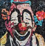 """ANDERSON THIVES.  """"Palhaço"""", colagem ,  medida total 1,03 x 1,03 cm.Anderson Thives nasceu no Paraná, mas é radicado no Rio de Janeiro.. Sua formação é em Artes Plásticas Visuais, pela Universidade Tuiuti. ... Seu trabalho é Pop-Contemporâneo, baseado na Pop Art. Inspira-se em Andy Warhol, Richard Hamilton, entre outros."""