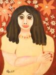 """ELZA O.S. """"Figura de mulher em amarelo"""", óleo s/tela, 70 x 53 cm. Assinado no CIE. Sem moldura. No verso carimbo da Galeria Jean Jacques."""