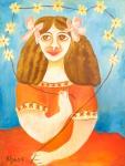 """ELZA O.S. """"Figura de feminina em vermelho"""", óleo s/tela, 70 x 53 cm. Assinado no CIE. Sem moldura. No verso carimbo da Galeria Jean Jacques."""