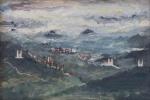 """ALBERTO DA VEIGA GUIGNARD (Nova Friburgo, RJ, 1896  Belo Horizonte, MG, 1962). """"Ouro Preto"""", óleo s/madeira, 24 x 36 cm. Assinado no CID, frente e verso. Emoldurado, 47 x 55 cm."""