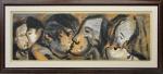 """RUBENS GERCHMAN ( Rio de Janeiro, RJ, 1942  São Paulo, SP, 2008). """" Série do beijo"""",óleo s/tela, med. 70 x 210 cm. Assinado cid e no verso datado 96/97. Emoldurado, 111 x  251 cm.  Foi um artista plástico brasileiro, descendente de suecos, ligado a tendências vanguardistas como o pscicodelismo e influenciado pelo pop-art, arte concreta e neoconcreta. O artista usou ícones de futebol, televisão e política em suas obras. Em 1967 foi premiado no Salão Nacional de Arte Moderna com uma viagem aos Estados Unidos, permanecendo em Nova York, entre 1968 e 1972, realizando várias exposições."""