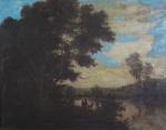 """Escola Européia, """"Paisagem com Rio"""", óleo s/ tela, medindo  56 x 71 cm. Emoldurado, medindo 74 x 90 cm."""