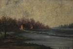 """A.M. SCHER. """"Paisagem de Campo"""", óleo s/ madeira, assinado no CID, medindo 15 x 20 cm. Emoldurado, medindo 22 x 28 cm."""